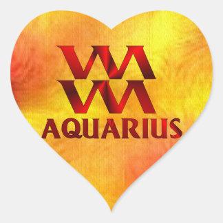 Red Aquarius Horoscope Symbol Heart Sticker