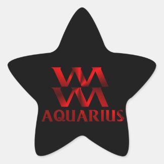 Red Aquarius Horoscope Symbol Star Sticker