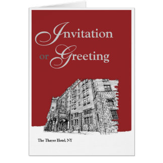 Red architectural ink note card