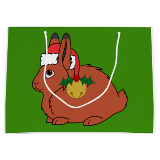 Red Arctic Hare with Santa Hat & Gold Bell Large Gift Bag