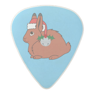 Red Arctic Hare with Santa Hat & Silver Bell Acetal Guitar Pick