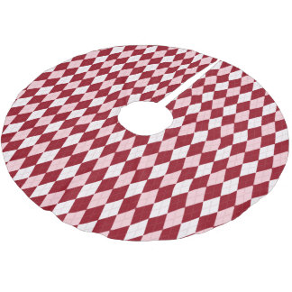 Red Argyle Crimson Pink Small Diamond Shape Brushed Polyester Tree Skirt