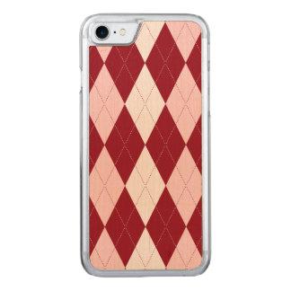 Red Argyle Crimson Pink Small Diamond Shape Carved iPhone 8/7 Case