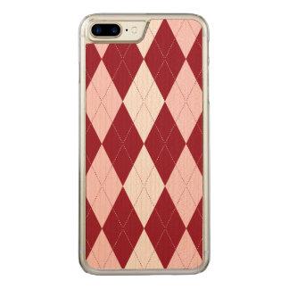 Red Argyle Crimson Pink Small Diamond Shape Carved iPhone 8 Plus/7 Plus Case