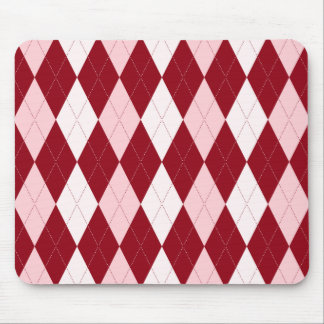 Red Argyle Crimson Pink Small Diamond Shape Mouse Mat
