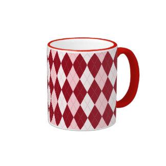 Red Argyle Crimson Pink Small Diamond Shape Ringer Mug