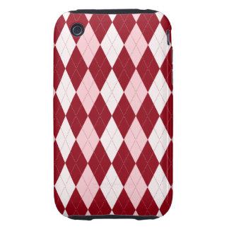 Red Argyle Crimson Pink Small Diamond Shape Tough iPhone 3 Cover