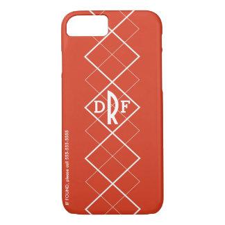 Red Argyle Monogram iPhone 8/7 Case