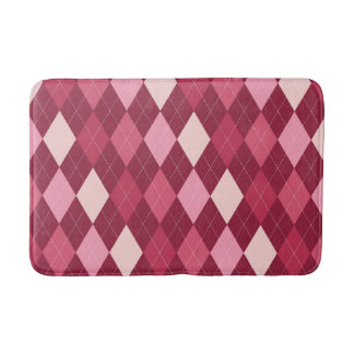 Red argyle pattern bath mat