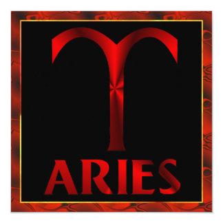Red Aries Horoscope Symbol 13 Cm X 13 Cm Square Invitation Card