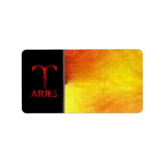 Red Aries Horoscope Symbol Address Label