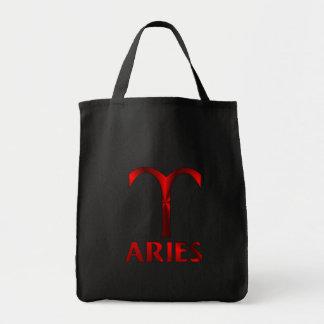 Red Aries Horoscope Symbol Tote Bag