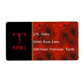 Red Aries Horoscope Symbol Shipping Label