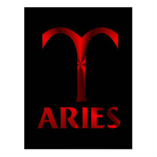 Red Aries Horoscope Symbol Postcard