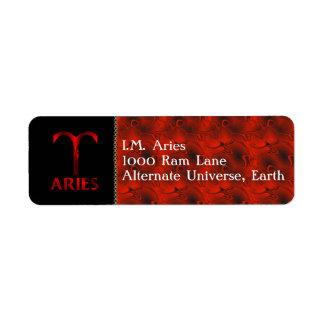 Red Aries Horoscope Symbol Return Address Label