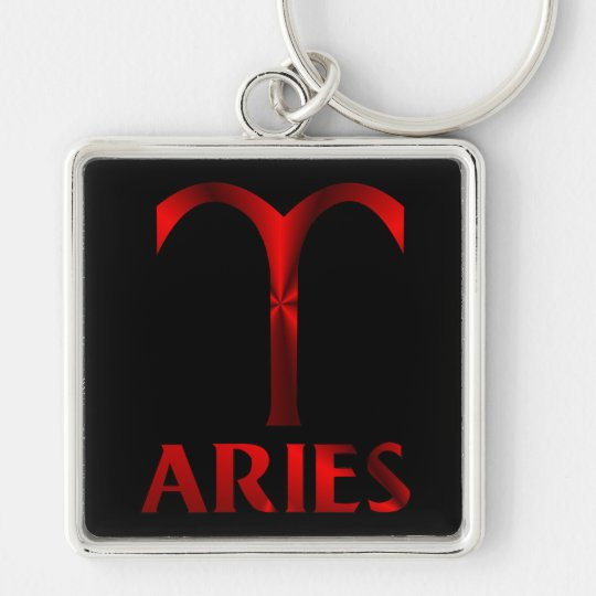 Red Aries Horoscope Symbol Silver-Colored Square Key Ring