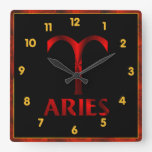 Red Aries Horoscope Symbol Square Wallclock