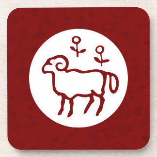 Red Aries Zodiac Sign Coaster