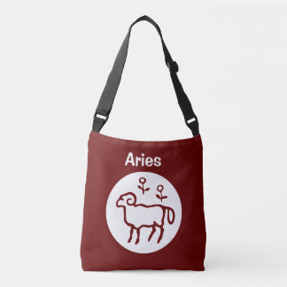 Red Aries Zodiac Sign Crossbody Bag