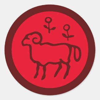 Red Aries Zodiac Sign Round Sticker
