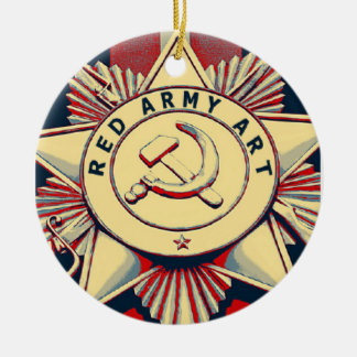 RED ARMY ART ROUND CERAMIC DECORATION