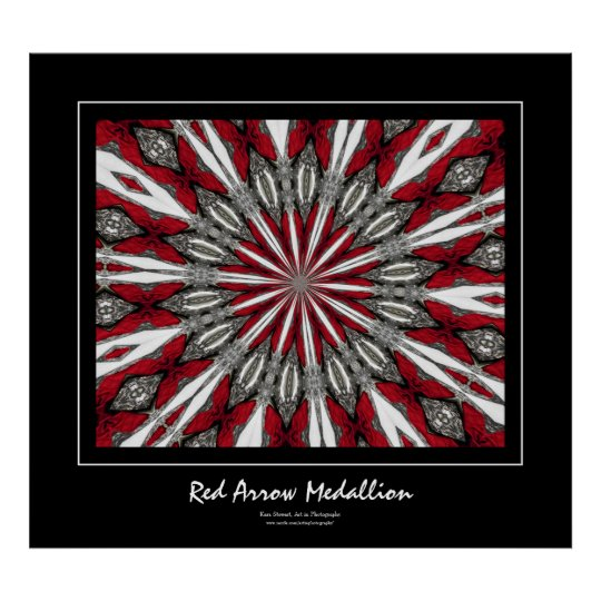 Red Arrow Medallion Black Border Poster