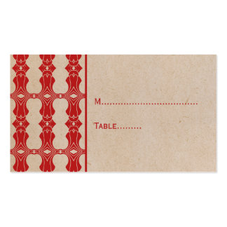 Red Art Deco Border Place Card Double-Sided Standard Business Cards (Pack Of 100)