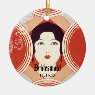 Red Art Deco Gatsby Style Girl Bridesmaid Round Ceramic Decoration