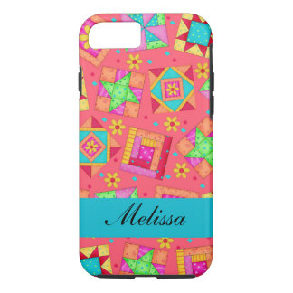 Red Art Patchwork Quilt Blocks Name Personalized iPhone 7 Case