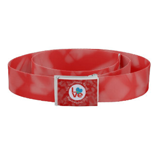 Red Aruban LOVE White Circle Red Background Belt