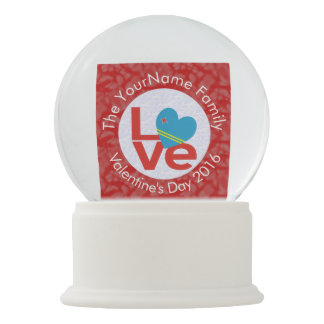 Red Aruban LOVE White Circle Red Background Snow Globes