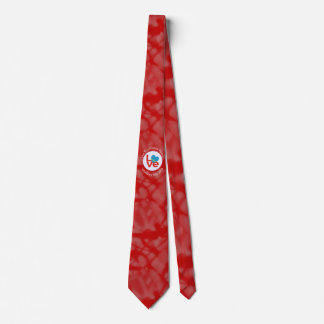 Red Aruban LOVE White Circle Red Background Tie