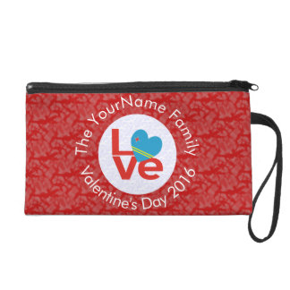 Red Aruban LOVE White Circle Red Background Wristlet Clutches