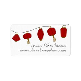 Red Asian Lanterns Address Labels
