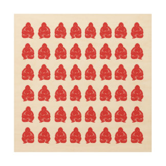 Red Asian Moods Buddah Boys Wood Print