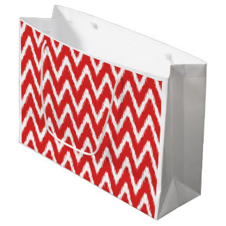 Red Asian Moods Ikat Chevrons Large Gift Bag