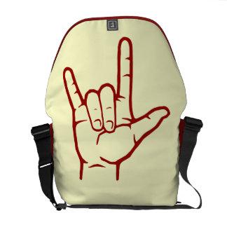 Red ASL I Love You Messenger Bag