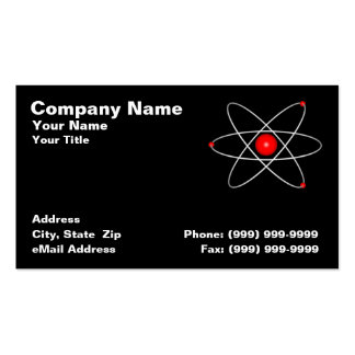 Red Atom Against a Black Background Business Card Templates
