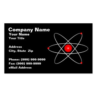 Red Atom Against a Black Background Business Card Template