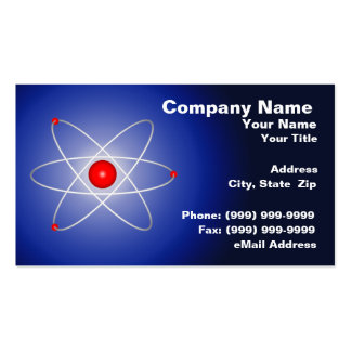 Red Atom Against a Blue Graduated Background Business Card Templates