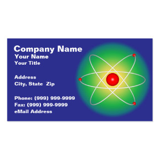 Red Atom Against a Graduated Background Business Cards
