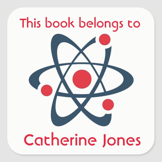 Red Atom Science Design Bookplate Sticker