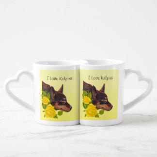 Red Australian Kelpie on Yellow Roses Lovers Mug