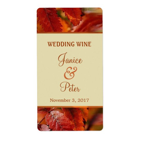 Red Autumn fall leaves Wedding Wine Label