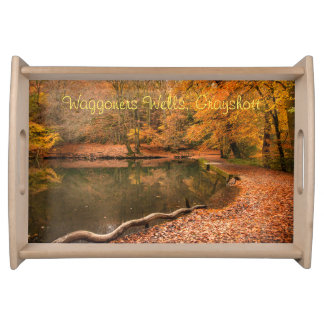 Red autumn fall woodland landscape forest serving tray