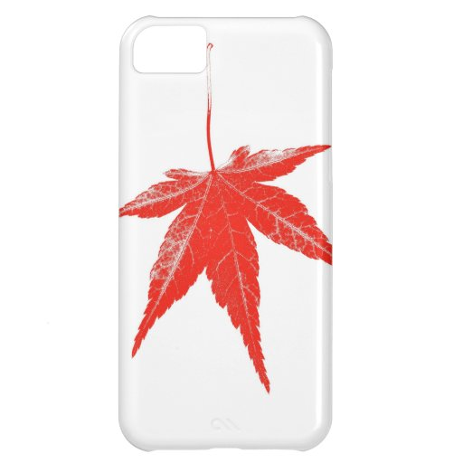 Red autumn leaf on white iPhone 5C cover