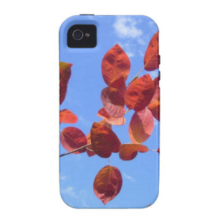 RED AUTUMN LEAVES BRANCH IN HAND VIBE iPhone 4 COVERS
