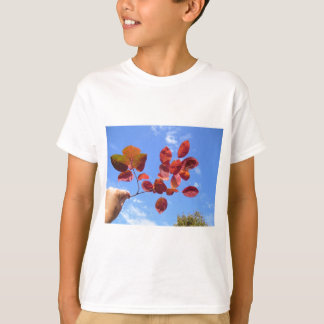 RED AUTUMN LEAVES BRANCH IN HAND T-Shirt