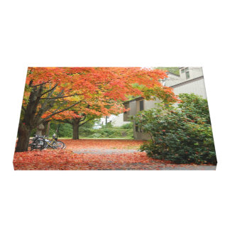 Red Autumn Leaves Falling Stretched Canvas Prints