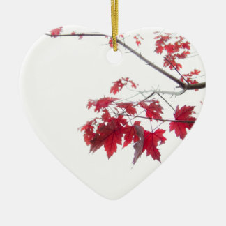 red autumn leaves on a branch ceramic heart decoration